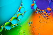 Abstract Molecule Sctructure. Water Bubbles. Macro Shot Of Air Or Molecule. Abstract Blue, Orange An poster