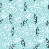 Contrast Linear Doodle Floral Seamless Pattern With White Flowers And Contrast Dark Leaves On Blue.  poster