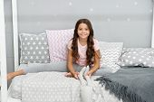 Girl Child Wear Pajamas Play Bunny Toy. Play Soft Toy Before Go Sleep. Girl Long Curly Hair Enjoy Ev poster