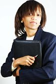 Business Woman With Black Folder
