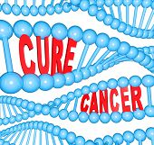 The words Cure Cancer in strands of DNA representing the importance of breakthrough medical research