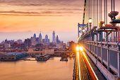 Philadelphia, Pennsylvania, USA downtown skyline from the Benjamin Franklin Bridge. poster
