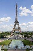 An archetypal view of the Eiffel Tower, caught in the afternoon sun, with the fountains of the Champs de Mars in front