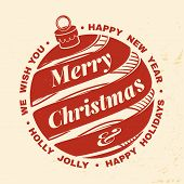 We Wish You A Very Merry Christmas And Happy New Year Stamp, Sticker Set With Hanging Christmas Bell poster