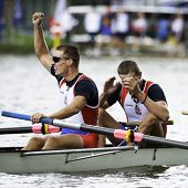AMSTERDAM - JULY 23:  Lucic and Djordjevic (Serbia's BM4+) wins gold at the world championships rowi