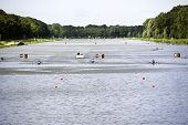 AMSTERDAM-JULY 22: Overview of the Bosbaan, venue for the world championships rowing under 23, races