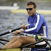 AMSTERDAM-JULY 23: Papachristos (Greek Single Sculls) wins the semi-finals of the World Championship