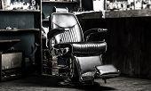 Barber Shop Chair. Stylish Vintage Barber Chair. Barbershop Armchair, Modern Hairdresser And Hair Sa poster