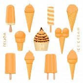 Vector Illustration For Natural Feijoa Ice Cream On Stick, In Paper Bowls, Wafer Cones. Ice Cream Co poster