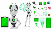Robot With Artificial Intelligence, Female Bot, Character Creation Set, Pack Of Body Parts, Emotions poster