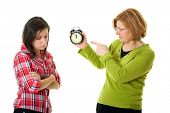 picture of disrespect  - mother warn her daughter for being late - JPG
