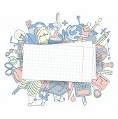 Welcome Back To School Hand Drawn Supply Doodles Background. Vector Illustration Of Cartoon Back To  poster