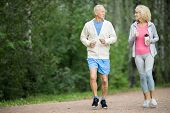 Happy active senior couple jogging in park among green trees in the morning poster