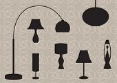 Retro lamp silhouettes