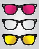Set of retro black sunglasses