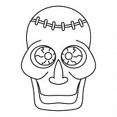 Trepanation Skull Of Zombie Icon. Outline Illustration Of Trepanation Skull Of Zombie Icon For Web poster