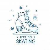 Ice Figure Skates Illustration. Woman Ise Skates Shoe Icon Or Symbol. Winter Holiday Activity. Chris poster