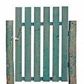 Old Aged Weathered Green Painted Wooden Gate, Isolated Rural Garden Fence Entrance Detail, Large Det poster