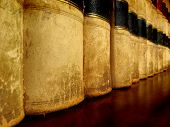 foto of law-books  - Row of old leather law books on a shelf - JPG