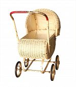 Antique Cane Pram isolated with clipping path