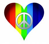 rainbow hearth with peace sign over white