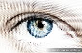 Realistic Eye Vector Design - EPS10 Dots Illustration