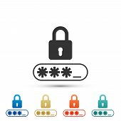 Password Protection Icon Isolated On White Background. Set Elements In Colored Icons. Flat Design. V poster