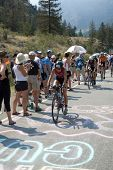 PENTICTON, CANADA - AUGUST 30: Cyclists climb the 2nd hill on the Ironman Canada triathlon August 30