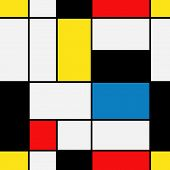Seamless Geometric Abstract Pattern. Mondrian Style. Vector. poster