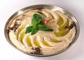 Hummus, an Arab/Mediterranean chickpea-tahina (sesame)dip.