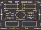 Art Deco Line Border. Modern Arabic Gold Frames, Decorative Lines Borders And Geometric Golden Label poster