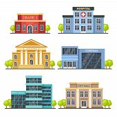 Flat City Buildings. Contemporary Office Center, Hospital Facade And City Hall Building. Modern Thea poster
