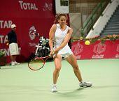 Patty Schnyder der Schweiz im Spiel gegen Frankreich Araval Radwanska bei der Qatar Total open, feb 2