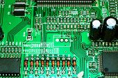 A circuitboard from inside a DVD player, extreme macro.