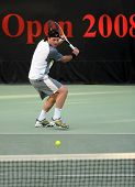 Andrei Pavel in action at the 2008 Qatar ExxonMobil Open tennis tournament in Doha.