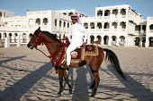 DOHA - FEBRUARY 3: A rider shows off a pure-bred Arab stallion, with the State of Qatar arms, in cen