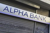 HERAKLION, GREECE - JULY 27: A branch of Alpha Bank in Heraklion (Iraklio), Crete. Alpha Bank's part