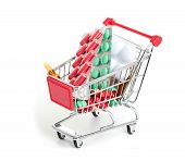 Shopping trolley with pills and medicine