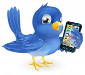 picture of bluebird  - Illustration of a cute happy bluebird holding a mobile cell phone - JPG