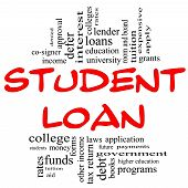 Student Loan Word Cloud Concept In Red & Black