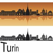 stock photo of turin  - Turin skyline in orange background in editable vector file - JPG