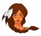 illustration of a beautiful American Indian woman