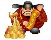 Постер, плакат: 2013 Китайские деньги Бога змеи и прокрутки желающих процветания