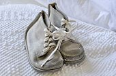 Old Vintage White Baby Shoes