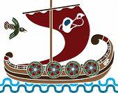 Постер, плакат: Древний корабль викингов с защитными шайбами