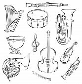 stock photo of double-bass  - Vector sketch set of Symphony Orchestra musical instruments - JPG