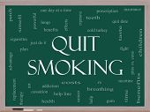 Quit Smoking Word Cloud Concept On A Blackboard