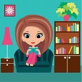 Girl Cartoon Reads The Book On A Sofa.