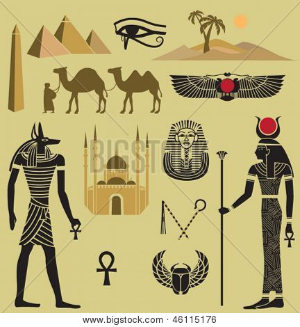 Egypt Symbols and Landmarks Icons