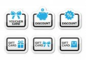 Bon, gift, korting kaart vector icons set